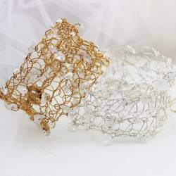 bridal cuff in silver or gold plate with pearl, crystal and moonstone