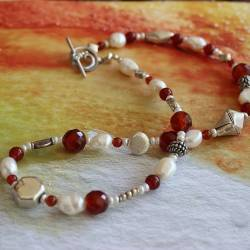 Baptista Necklace with orange red carnelian pearls and silver beads