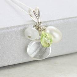 Crystal and Peridot Teardrop Pendant