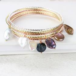 Metal Bangle with Freshwater Pearl Charm