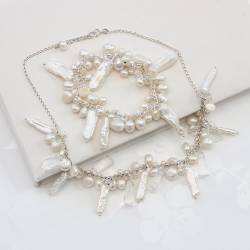 White Assorted Pearl necklace and bracelet set handmade by bish bosh becca
