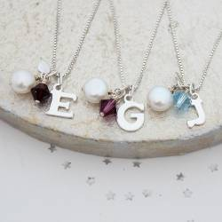 Personalised Silver Letter Charm Necklace with Birthstone Crystal for January, February and March