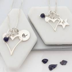 mother and daughter open heart necklaces with sapphire birthstone for September