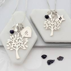 mother and daughter aterling silver Tree of Life Necklaces with sapphire gemstone Birthstones for september