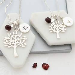mother and daughter Tree of Life Necklaces with garnet birthstones for january birthdays