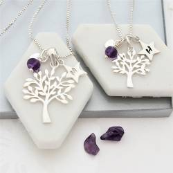 mother and daughter sterling silver Tree of Life Necklaces with amethyst birthstones for february birthdays