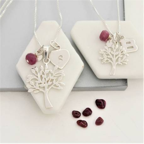 mother and daughter sterling silver Tree of Life Necklaces with ruby birthstones for July birthdays