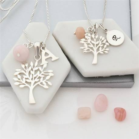 mother and daughter sterling silver Tree of Life Necklaces with opal birthstones for October birthdays