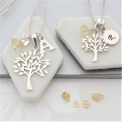mother and daughter sterling silver Tree of Life Necklaces with citrine birthstones for November birthdays