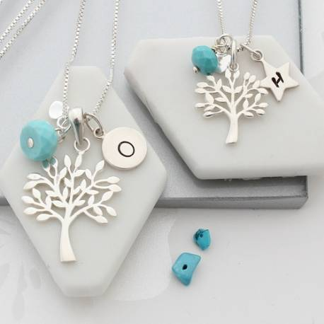 mother and daughter sterling silver Tree of Life Necklaces with turquoise birthstones for Decemmber birthdays