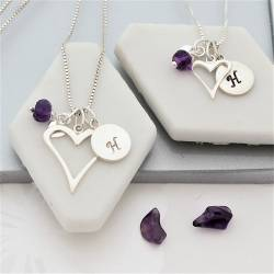 mother and daughter open heart necklaces with amethyst birthstone for february