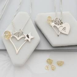 mother and daughter open heart necklaces with citrine birthstone for november