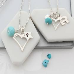 mother and daughter open heart necklaces with turquoise birthstone for december