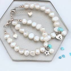 mother and daughter personalised white pearl bracelets turquoise birthstone for December and sterling silver letter charms