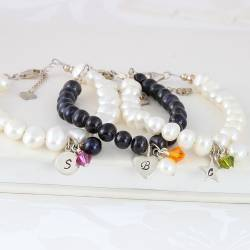 personalised silver charm and pearl bracelet with fuchsia pink, orange and olive green swarovski crystal