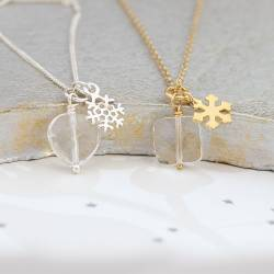Faceted Crystal weddding Pendant With Silver or gold snowflake Charm perfect for the bride and her bridesmaids
