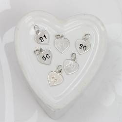 sterling silver heart charm with number for her milestone birthdays or anniversary