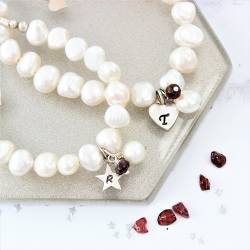 mother and daughter personalised white pearl bracelets garnet birthstone for January and sterling silver letter charms