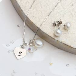 personalised sterling silver heart charm necklace set with pearl stud earrings
