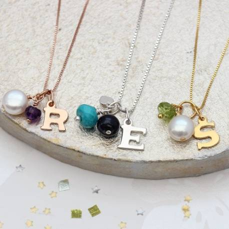 birthstone gemstone necklace personalised with a silver, rose gold or gold charm perfect gifts for friends and sisters