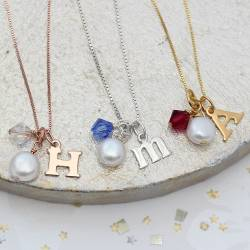 Personalised sterling Silver, rose gold or gold Letter Charm Necklace with Birthstone Crystal perfect gift for girlfriends