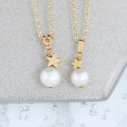mum and daughter single white Pearl Pendants with Gold Star