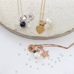 21st birthday necklace in sterling silver, rose gold and gold with April, May and June birthstones