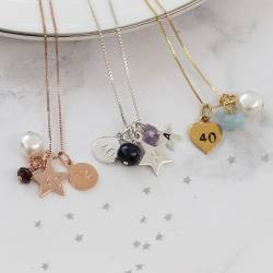 40th birthday necklaces garnet for January, Amethyst for February and aquamarine for March birthdays