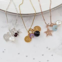60th personalised birthstone necklaces, garnet for January, Amethyst for February and aquamarine for March