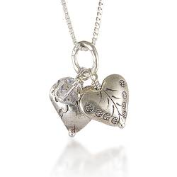 sterling silver 2 heart pendant necklaces with crystal