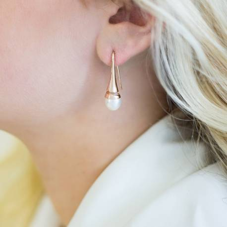 Gold Cone Swirl Drop Earrings with Freshwater Pearls