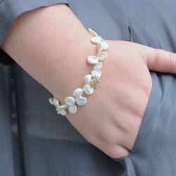 bish bosh becca White Keshi Pearl Bracelet with 4 leaf Clover for good luck bring worn