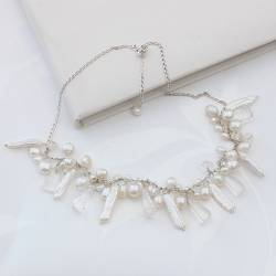 assorted pearl wedding necklace in bridal white by bish bosh becca