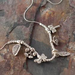 Keimau Floral sterling Silver Charm Necklace