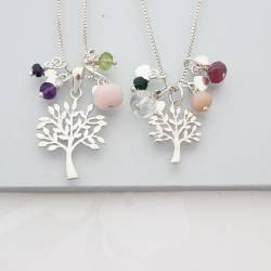 mother and daughter sterling silver Tree of Life Necklaces with peridot birthstones for August birthdays