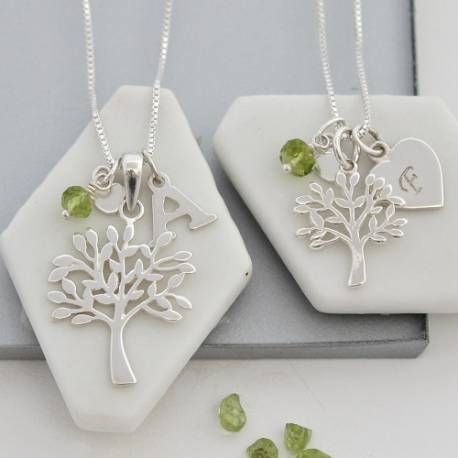 Mama et Moi Personalised Tree of Life Necklaces with Birthstones