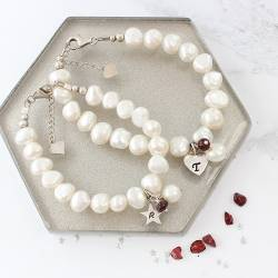mother and daughter personalised white pearl bracelets ruby birthstone for July and sterling silver letter charms