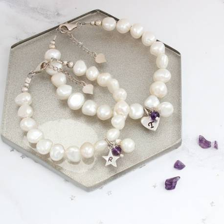 mother and daughter personalised white pearl bracelets amethyst birthstone for February and sterling silver letter charms