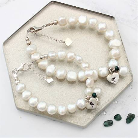 mother and daughter personalised white pearl bracelets emerald birthstone for May and sterling silver letter charms