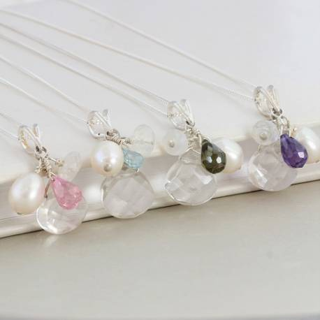 Crystal Pendant with white pearl moonstone and pink olive green purple or blue topaz teardrop on silver chain