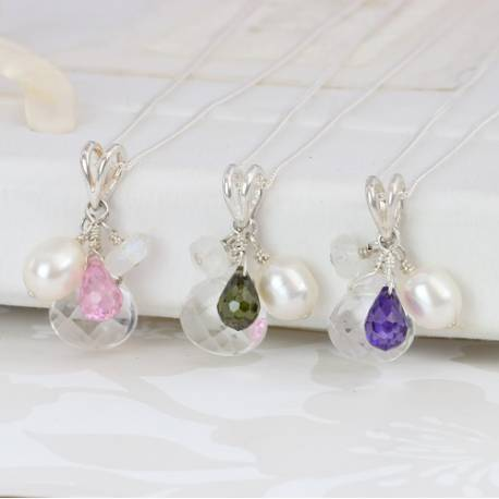 Crystal Pendant with white pearl moonstone and pink, olive green and  purple teardrop on silver chain