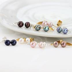 8mm cultured freshwater pearl clip on earrings on silver or gold