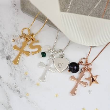 Personalised Silver Cross Necklace with Birthstone Charm
