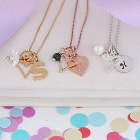 Childs Personalised Open Heart Necklace in sterling silver, rose gold and gold with April, May and June birthstones