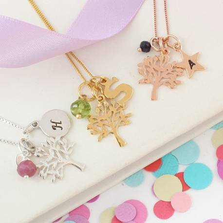 childs mini sterling silver, rose gold or gold tree of life necklace with July, August and September birthstones