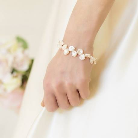 White Keshi Pearl Wedding Bracelet being worn