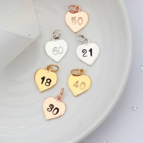personalised sterling silver, rose gold or gold heart charm with number for her milestone birthdays or anniversary