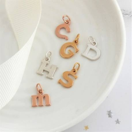 sterling silver, rose gold or gold letter initial charm for every letter in the alphabet