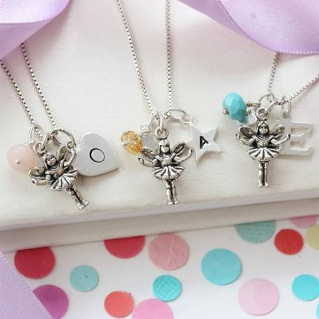silver fairy necklace with October, November and December birthstones