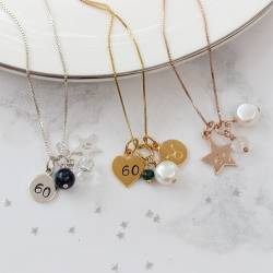 Star Charm in Sterling Silver, Rose Gold and Gold Personalised with Letter